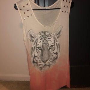 Tie dye white to coral tiger tank